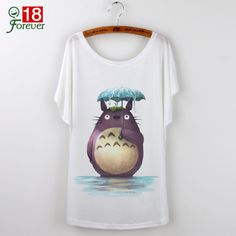 Summer Tops 2016 Harajuku Funny T Shirts Cute Totoro Graphic Tees Women T-shirt Loose Cartoon Print Casual Tee Shirt Femme White