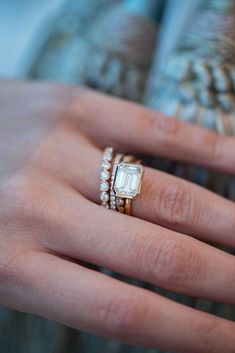 Art Deco Rose Gold Morganite Ring Rose Gold Engagement Ring Unique Engagement Ring Morganite Engagement Ring - Fine Jewelry Ideas - Our Emerald cut East West setting stacked beautifully with our Chantilly Lace, Micro Pave, and Circ - Morganite Engagement, Rose Gold Engagement Ring, Gold Engagement Rings, Diamond Wedding Bands, Wedding Rings, Diamond Rings, Emerald Cut Wedding Band, Oval Engagement, Wedding Gold