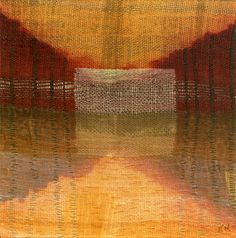 """Karen Henderson, Reverie. 2012. 12"""" x 12""""; handwoven linen, cotton and silk, with cotton gauze and silk organza; dye painting, color removal, shibori, with hand-stitching.  And many more ..."""
