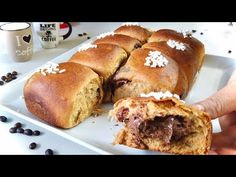 BRIOCHE CAFFÈ LATTE CON NUTELLA Sofficissima ☕️ Coffee brioche with Nutella - YouTube Rock Crock Recipes, Scd Recipes, Nutella Recipes, Donut Recipes, No Yeast Bread, Bread Baking, Croissants, Hamburger Side Dishes, Cinnamon Scones