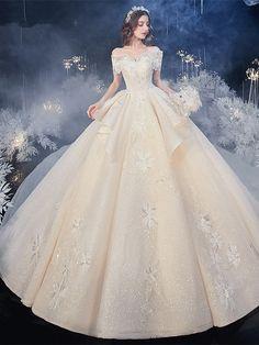 Champagne 2020 Off The Shoulder Tulle Appliques Beading Ruffles Wedding Dress Under 500 Wedding Dresses Under 500, Wedding Dress Train, Wedding Dresses For Sale, Wedding Dress Shopping, Bridal Dresses, Event Dresses, Ball Dresses, Pretty Dresses, Beautiful Dresses