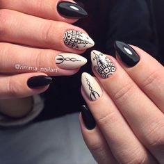 Accurate nails, Almond-shaped nails, Autumn nails, Beautiful autumn nails, Beautiful nails 2017, Ethnic nails, Evening nails, Medium nails