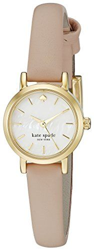 Abstract markers detail a tiny dial on this gold-tone #Kate Spade New York watch. Slim leather band. Buckle clasp.