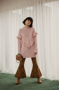 Mother of Pearl Pink Jumper, Sustainable Clothing, Aw17, Cropped Trousers, Contemporary Fashion, Ready To Wear, Bell Sleeve Top, Women Wear, Ruffle Blouse