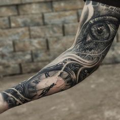 Watch and eye tattoo on full sleeve - 100 Awesome Watch Tattoo Designs <3 <3