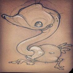 I made an #ostrich! #newschool #sketch by taraquinntattoos