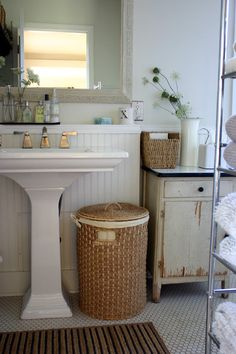 Traditional Bathroom Distressed Furniture Design, Pictures, Remodel, Decor and Ideas