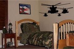 Helicopter Army Boys Kids Room Wall Decal Decor Huge 50