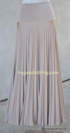 279b845c37 New Colors available at Hayaa Clothing - Hayaa Pleated Foldable Waistband Maxi  Skirts - Mocha,