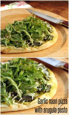Quick and easy garlic naan pizza with arugula pesto; I am totally drooling over the double dose of arugula in this recipe!   {The Perfect Pantry} #Vegetarian  #Arugula naan pizza