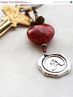 ON SALE Monogram Keychain or Necklace Personalized by KapKaDesign