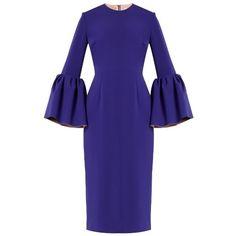Roksanda Margot bell-sleeved crepe dress (15.305.835 IDR) ❤ liked on Polyvore featuring dresses, blue, blue crepe dress, blue dress, crepe dress, flared sleeve dress and roksanda