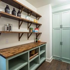 Pantry success at Toledo. Huge walk-in pantry with butcher block shelves and … Pantry success at Toledo. Huge walk in pantry with butcher block shelves and… - Own Kitchen Pantry Pantry Laundry Room, Pantry Closet, Laundry Room Storage, Walk In Pantry, Walkin Pantry Ideas, Storage Closets, Open Pantry, Front Closet, Utility Closet