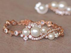 Rose Gold Bridal Bracelet by JamJewels1