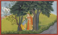 An Illustration to the Gita Govinda: Krishna Adorns his beloved Radha. Opaque watercolor heightened with gold on paper, India, Kangra or Guler, ca. 1780, The illustration depicts Krishna tenderly trying a jeweled girdle around the waist of his beloved Radha as they both gaze longingly at each other after their tryst on the banks of the Yamuna.