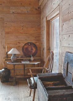 interior of Swiss chalet, by Axel Vervoordt Kim House, Axel Vervoordt, Rustic Room, Rustic Chic, Chalet Style, Interior Decorating, Interior Design, House Inside, Exposed Wood