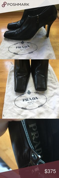 PRADA Leather 4in Slim Heel LOGO Zip Ankle Boots Again refer to description! Size 7. In GREAT condition and will last forever! Outside zippers are PRADA Logo. Bottom right Heel has a couple knicks but nothing noticeable. These retail for $1000+! A Steal at this price bc my sis in law (a lawyer) decided they're a little too HIGH for her, YOUR gain ;) Prada Shoes Ankle Boots & Booties