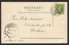 Brevpost fra Tiedemanns tobakksfabr,  Charlottenberg til Rolf Andvord, Incognito gd. 28, Kristiania. Stemplet 1903.