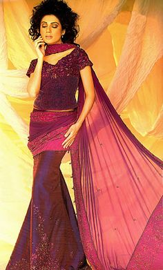 BW8902 Berry Burgundy Mermaid Lehenga Pakistani Designers Fashion Show 2011 in New York City, USA Bridal Wear