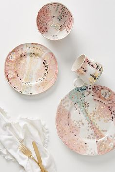 Anthropologie Gold Accent Dinner Plate