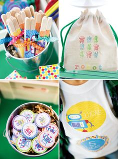 Robot themed birthday party bags
