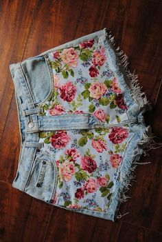 too old for the shorts,ight split the legs of a pair of jeans, and add an insert of the floral for bell bottoms, and then fabric glue the same fabric or cut outs on the back pockets or scatter the blooms randomly over the legs