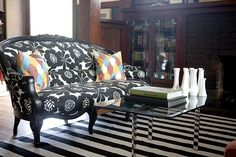 black + white floral couch