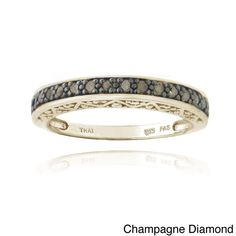 DB Designs Sterling Silver 1/6ct TDW Round Diamond Eternity Ring (Champagne Diamond - Size 6), Women's, Orange