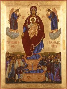 Tempera Icon from the Icon Painting Workshop of St.Elisabeth Convent The Life-Giving Spring of the Mother of God is a feast d. Byzantine Icons, Byzantine Art, Ghost Rider Movie, Church Icon, St Clare's, Religious Icons, Orthodox Icons, I Icon, Our Lady
