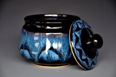 Blue Pottery Sugar Bowl Ceramic Sugar Bowl by darshanpottery