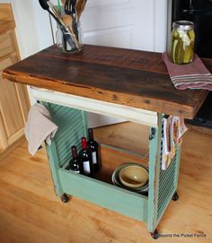 Island made from an old drawer and shutters! Beyond the Picket Fence