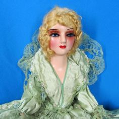 Antique-1920s-WKS-Compo-Boudoir-Bed-Doll-Keeneye-Inset-Eyelashes-High-Heels