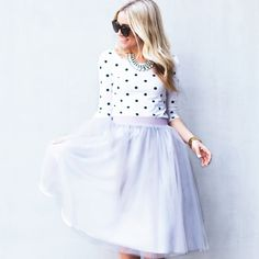 [Polka Dots and Sailor Stripes] the Ava Midi tulle skirt in dove grey