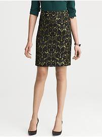 L'Wren Scott Collection Lace Brocade Pencil Skirt