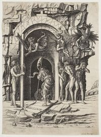 Descent into Hell - Andrea Mantegna.  c.1475-80.  Engraving on laid paper.  45 x 32.6 cm.  National Gallery of Canada, Ottawa ON, Canada.
