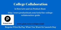 The College Collaboration Guide is Live https://gumroad.com/l/collegecollab  and on @ProductHunt http://www.producthunt.com/tech/the-college-collaboration-guide …