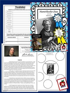 HARRIET BEECHER STOWE                  FREEBIE Harriet Beecher Stowe is the perfect subject for Black History month and Women's History month in March or anytime as a resource to learn about an influential figure in American history. This freebie provides a short story/bio and scaffolding to help your students gain a better understanding of text.