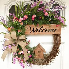 Welcome to a new collection of DIY projects featuring 15 Dreamy Handmade Summer Wreath Designs Made With Fresh Flowers. Wreaths For Front Door, Door Wreaths, Grapevine Wreath, Easter Wreaths, Christmas Wreaths, Shabby Chic Kranz, Diy Spring Wreath, Welcome Wreath, Spring Flowers