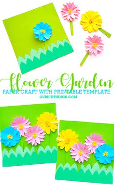 This Flower Garden Paper Craft is such a colorful and cheerful craft for spring! Comes with a Free Printable Paper Flower Garden Template, too! Easter Arts And Crafts, Spring Crafts For Kids, Diy For Kids, Craft Kids, Kids Crafts, Paper Craft Supplies, Paper Crafts, Construction Paper Flowers, Paper Flowers For Kids
