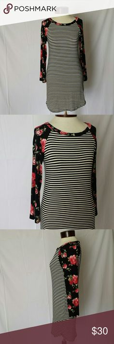 NWOT Floral & Stripe Spring Tunic 3/4 Sleeve Absolutely perfect for spring.   NEVER WORN! Purchased from Hazel & Olive Boutique and it just didn't work well on my frame.  My loss, your gain Very soft and stretchy!  Poly/rayon/spandex blend. My Story Tops Tunics