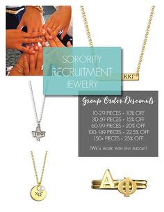 Best selling sorority jewelry styles for recruitment! Contact us to create a piece that fits any chapter budget! www.alistgreek.com