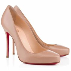 FASHIONABLE STYLE Classic Womens Red Bottom Heels Christian Louboutin Elisa 100mm Nude Leather Round Toe Pumps On Sale Online in www.buyheelshoes.com