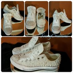 Custom bling  pearl converse for the bride