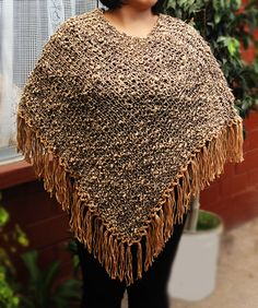 Poncho marrón tejido con palillos (Poncho dos agujas) / #knit #poncho #knitted #poncho #needles #wear #Gray #brown  by Suhyza