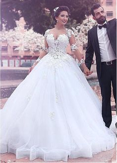 Cheap bridal gowns long sleeves, Buy Quality bridal gown directly from China gown wedding Suppliers: Arabic Style Ball Gown Wedding Dress 2017 Custom Made Bridal Gown Long Sleeve With Applique Cheap Wedding Gowns Vestido De Noiva Arabic Wedding Dresses, Wedding Dress Organza, Wedding Dress Train, Perfect Wedding Dress, Tulle Wedding, Wedding Gowns, Ivory Wedding, Dubai Wedding, Dress Lace