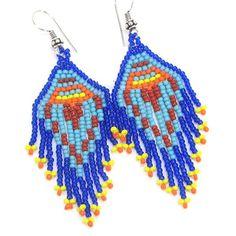 Blue Orange Yellow Seed Beads Beaded Earrings