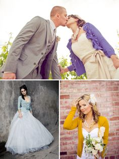 Cardigan with wedding dress? I like this. at least for some pics, not necessarily for the ceremony though.