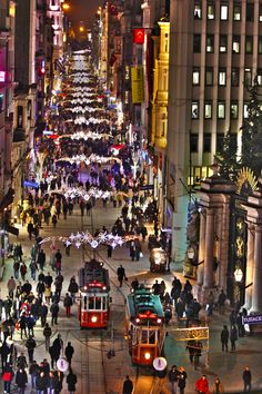 İstiklal Avenue in Taksim, Istanbul (Turkey). Independence Avenue) is one of the most famous avenues in Istanbul, Turkey, visited by nearly 3 million people in a single day over the course of weekends. Approximately 3km long, get walking!