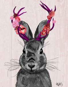 Hey, I found this really awesome Etsy listing at https://www.etsy.com/listing/195972554/jackalope-with-pink-antlers-14x11