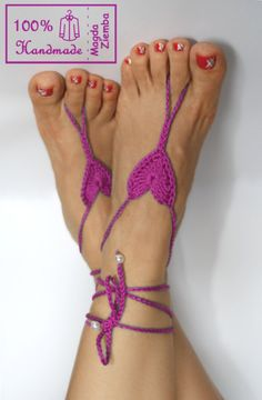 """Least Steampunk Item sold online as steampunk, of the week Competition.    """"Orchid HEART Crochet BEARFOOT Sandals, steampunk, victorian lace, sexy, yoga, anklet ,wedding, beach or pool party"""""""